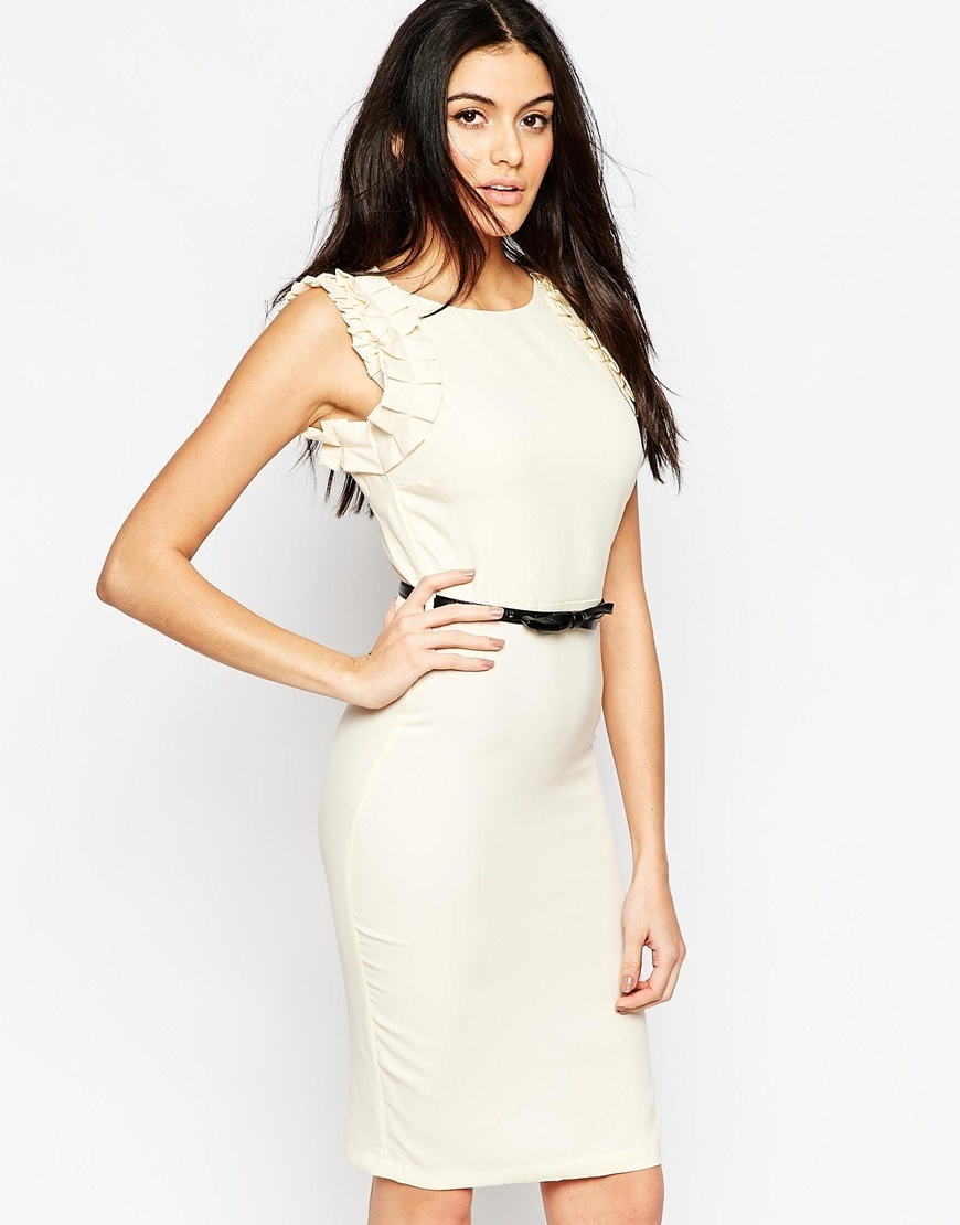 Belted Pencil Dress With Frill Sleeves Cream - style: shift; fit: tailored/fitted; pattern: plain; sleeve style: sleeveless; waist detail: belted waist/tie at waist/drawstring; predominant colour: ivory/cream; length: just above the knee; fibres: polyester/polyamide - 100%; occasions: occasion; neckline: crew; sleeve length: sleeveless; pattern type: fabric; texture group: other - light to midweight; season: a/w 2015