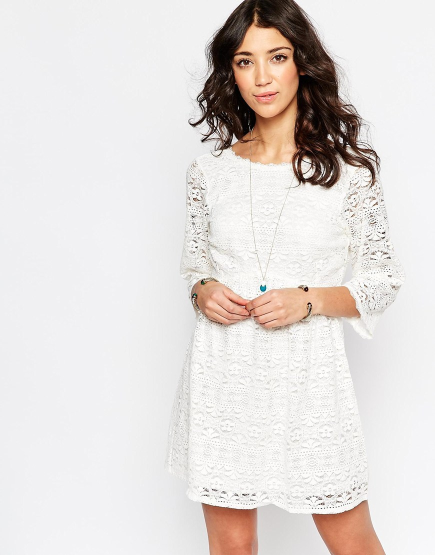 Confetti Bohemien Dress In Lace Off White - style: shift; predominant colour: white; occasions: casual, creative work; length: just above the knee; fit: soft a-line; fibres: cotton - mix; neckline: crew; sleeve length: long sleeve; sleeve style: standard; texture group: lace; pattern type: fabric; pattern size: standard; pattern: patterned/print; season: a/w 2015; wardrobe: highlight