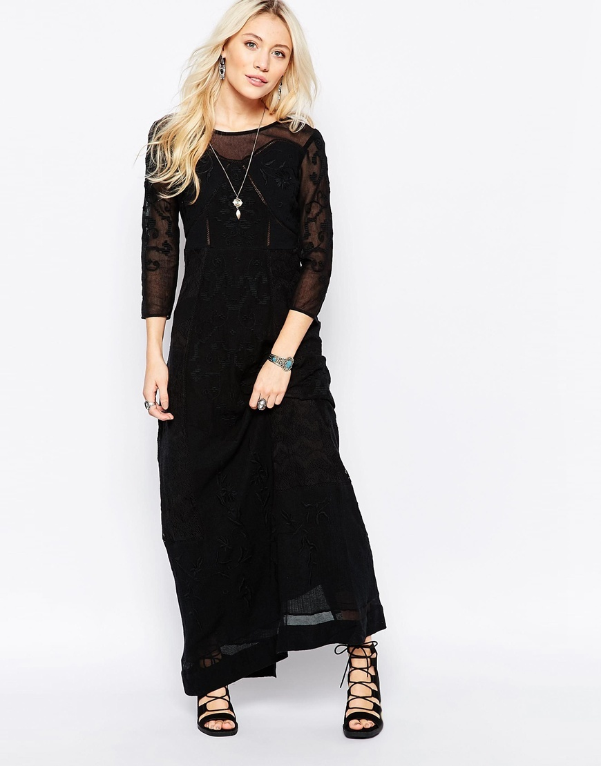 Say You Love Me Lace Panel Maxi In Black Black - neckline: round neck; pattern: plain; style: maxi dress; length: ankle length; predominant colour: black; occasions: evening; fit: body skimming; fibres: polyester/polyamide - 100%; sleeve length: 3/4 length; sleeve style: standard; texture group: sheer fabrics/chiffon/organza etc.; pattern type: fabric; shoulder detail: sheer at shoulder; season: a/w 2015; wardrobe: event