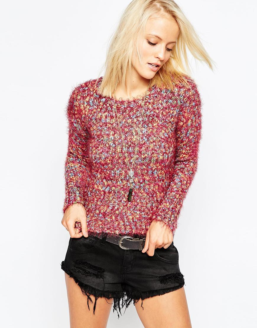 Jumper In Mix Knit Pink Multi - pattern: plain; style: standard; predominant colour: hot pink; occasions: casual; length: standard; fibres: polyester/polyamide - mix; fit: slim fit; neckline: crew; sleeve length: long sleeve; sleeve style: standard; texture group: knits/crochet; pattern type: fabric; season: a/w 2015; wardrobe: highlight