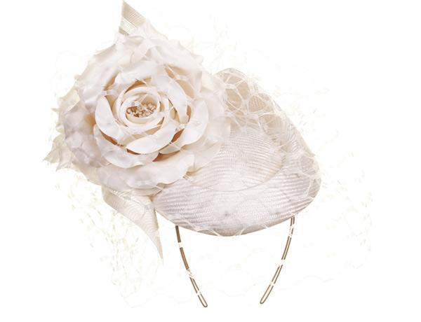 Antique Rose - predominant colour: ivory/cream; occasions: occasion; type of pattern: standard; style: cocktail; size: large; material: sinamay; pattern: plain; season: a/w 2015; wardrobe: event