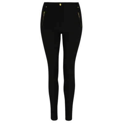 Mock Zip Trousers Black - length: standard; pattern: plain; waist: high rise; predominant colour: black; occasions: casual, creative work; fibres: cotton - stretch; fit: skinny/tight leg; pattern type: fabric; texture group: woven light midweight; style: standard; pattern size: standard (bottom); season: a/w 2015; wardrobe: basic