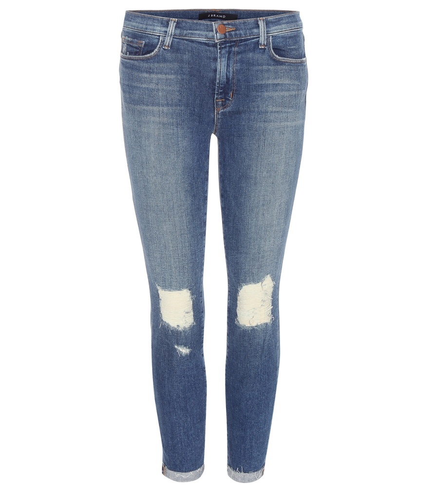 Capri Cropped Mid Rise Jeans - style: skinny leg; pattern: plain; pocket detail: traditional 5 pocket; waist: mid/regular rise; predominant colour: denim; occasions: casual; length: calf length; fibres: cotton - stretch; jeans detail: whiskering, rips; texture group: denim; pattern type: fabric; season: a/w 2015; wardrobe: basic