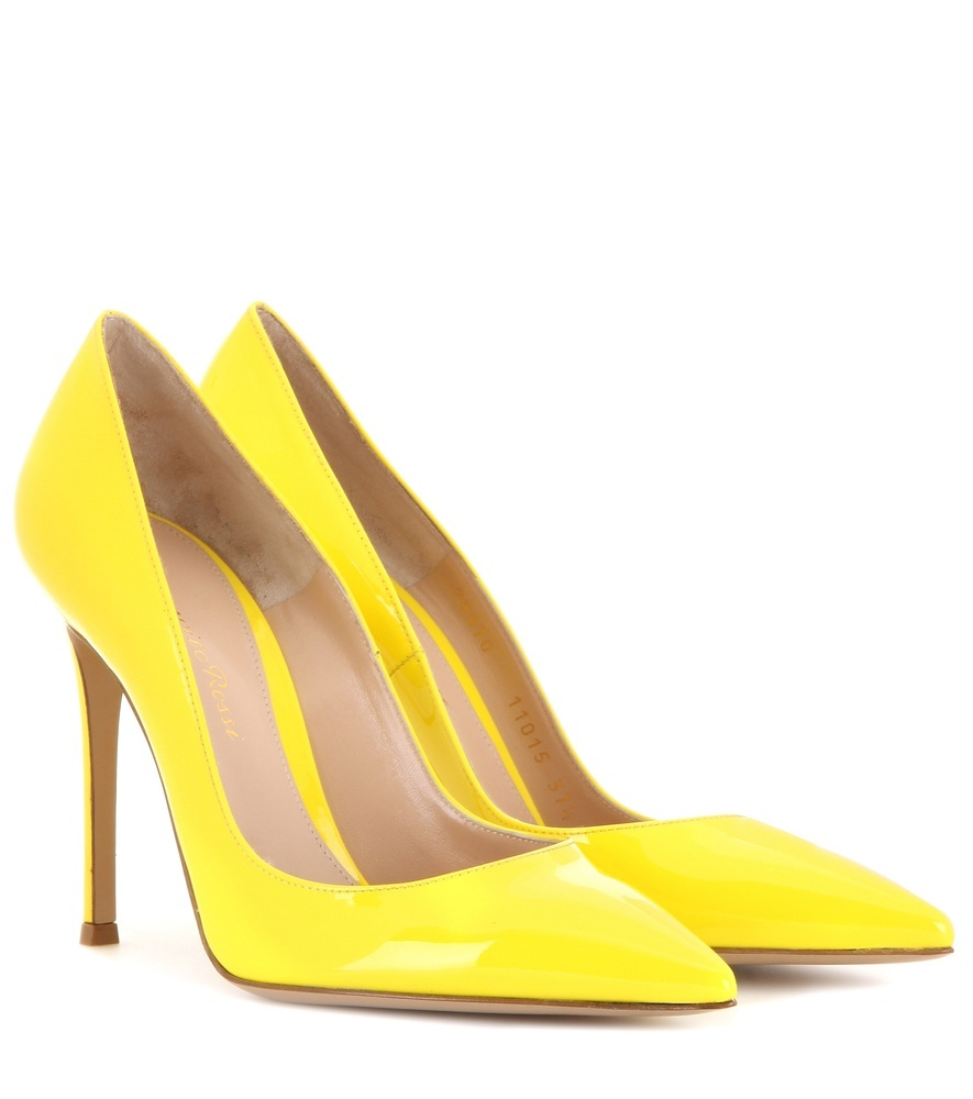 Patent Leather Pumps - predominant colour: yellow; occasions: evening; material: leather; heel height: high; heel: stiletto; toe: pointed toe; style: courts; finish: patent; pattern: plain; season: a/w 2015; wardrobe: event