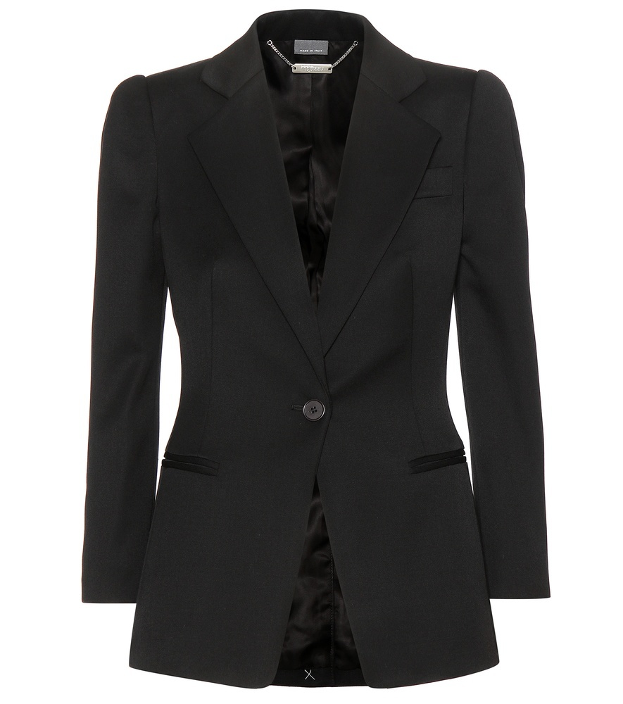 Wool Crêpe Blazer - pattern: plain; style: single breasted blazer; collar: standard lapel/rever collar; predominant colour: black; occasions: work; length: standard; fit: tailored/fitted; fibres: wool - 100%; sleeve length: long sleeve; sleeve style: standard; texture group: crepes; collar break: medium; pattern type: fabric; season: a/w 2015; wardrobe: investment