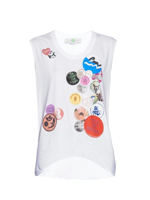 Badge Print Cotton T Shirt - neckline: round neck; sleeve style: sleeveless; style: t-shirt; predominant colour: white; secondary colour: true red; occasions: casual; length: standard; fibres: cotton - 100%; fit: loose; sleeve length: sleeveless; pattern type: fabric; pattern: patterned/print; texture group: jersey - stretchy/drapey; multicoloured: multicoloured; season: a/w 2015; wardrobe: highlight