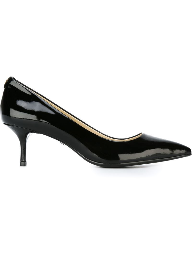 'flex' Pumps, Women's, Black - predominant colour: black; material: leather; heel height: mid; heel: kitten; toe: pointed toe; style: courts; finish: patent; pattern: plain; occasions: creative work; season: a/w 2015; wardrobe: investment