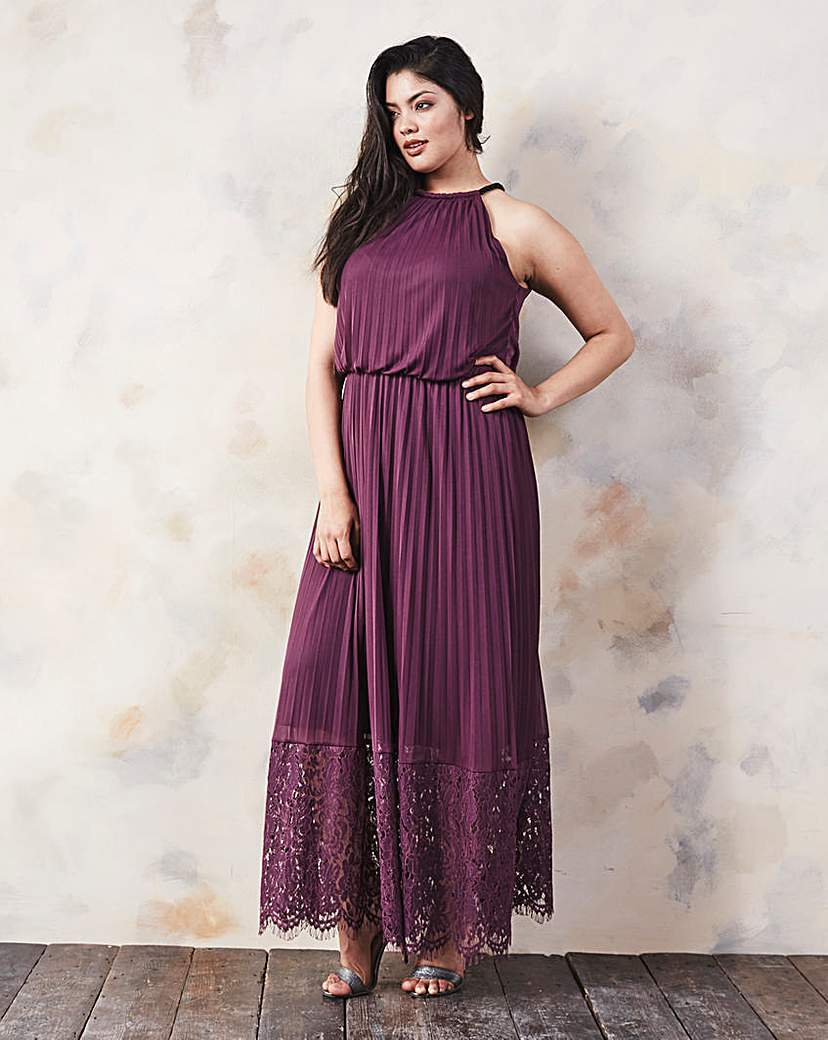Lace Hem Pleated Maxi Dress - pattern: plain; sleeve style: sleeveless; style: maxi dress; neckline: low halter neck; predominant colour: purple; occasions: evening; length: floor length; fit: body skimming; fibres: cotton - mix; sleeve length: sleeveless; pattern type: fabric; texture group: other - light to midweight; season: a/w 2015