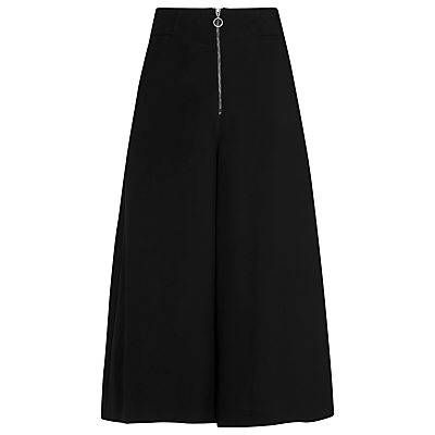 Bella Zip Culottes, Black - pattern: plain; waist: high rise; predominant colour: black; occasions: casual, creative work; length: calf length; fibres: viscose/rayon - 100%; fit: wide leg; pattern type: fabric; texture group: woven light midweight; style: standard; season: s/s 2016; wardrobe: basic