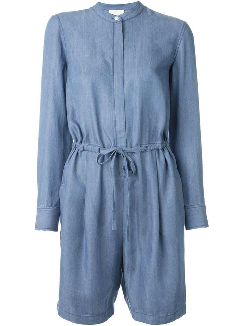 Chambray Playsuit, Women's, Blue - fit: fitted at waist; pattern: plain; waist detail: belted waist/tie at waist/drawstring; length: mid thigh shorts; predominant colour: denim; occasions: casual, creative work; fibres: cotton - mix; neckline: crew; sleeve length: long sleeve; sleeve style: standard; texture group: denim; style: playsuit; pattern type: fabric; season: a/w 2015