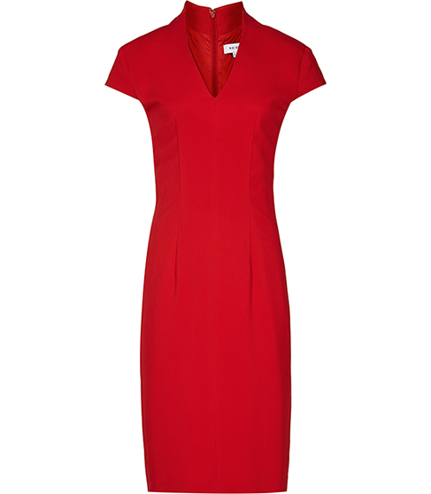 Valeria Capped Sleeve Dress - style: shift; neckline: v-neck; fit: tailored/fitted; pattern: plain; predominant colour: true red; occasions: evening, occasion; length: just above the knee; fibres: polyester/polyamide - 100%; sleeve length: short sleeve; sleeve style: standard; pattern type: fabric; texture group: other - light to midweight; season: a/w 2015