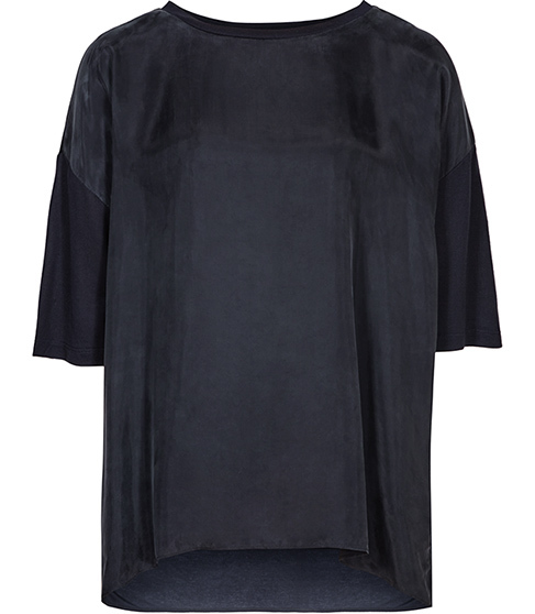 Jessie Cupro Front Top - sleeve style: dolman/batwing; pattern: plain; length: below the bottom; predominant colour: navy; occasions: casual; style: top; fibres: polyester/polyamide - 100%; fit: straight cut; neckline: crew; sleeve length: half sleeve; pattern type: fabric; texture group: jersey - stretchy/drapey; season: a/w 2015; wardrobe: basic