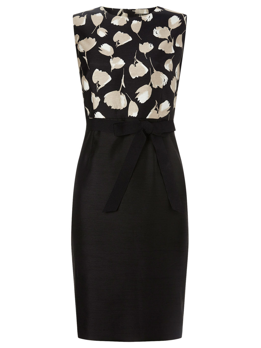 Tulip Bodice Dress - style: shift; length: below the knee; fit: tailored/fitted; pattern: plain; sleeve style: sleeveless; waist detail: belted waist/tie at waist/drawstring; secondary colour: ivory/cream; predominant colour: black; fibres: polyester/polyamide - 100%; occasions: occasion; neckline: crew; sleeve length: sleeveless; trends: monochrome; pattern type: fabric; texture group: other - light to midweight; season: s/s 2016; wardrobe: event