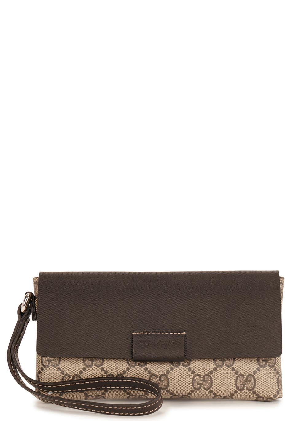 Gg Monogrammed Faux Leather Clutch Bag - predominant colour: chocolate brown; secondary colour: stone; occasions: evening; type of pattern: standard; style: clutch; length: handle; size: small; material: leather; finish: plain; pattern: patterned/print; season: a/w 2015