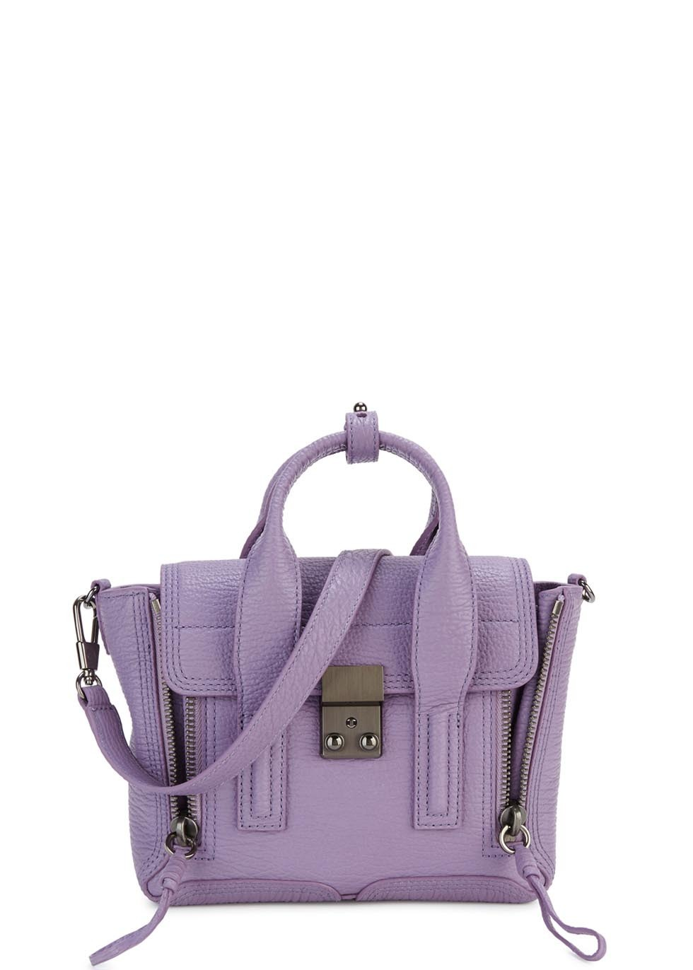 Pashli Mini Violet Leather Satchel - predominant colour: purple; type of pattern: standard; style: satchel; length: handle; size: standard; material: leather; pattern: plain; finish: plain; occasions: creative work; season: a/w 2015; wardrobe: highlight