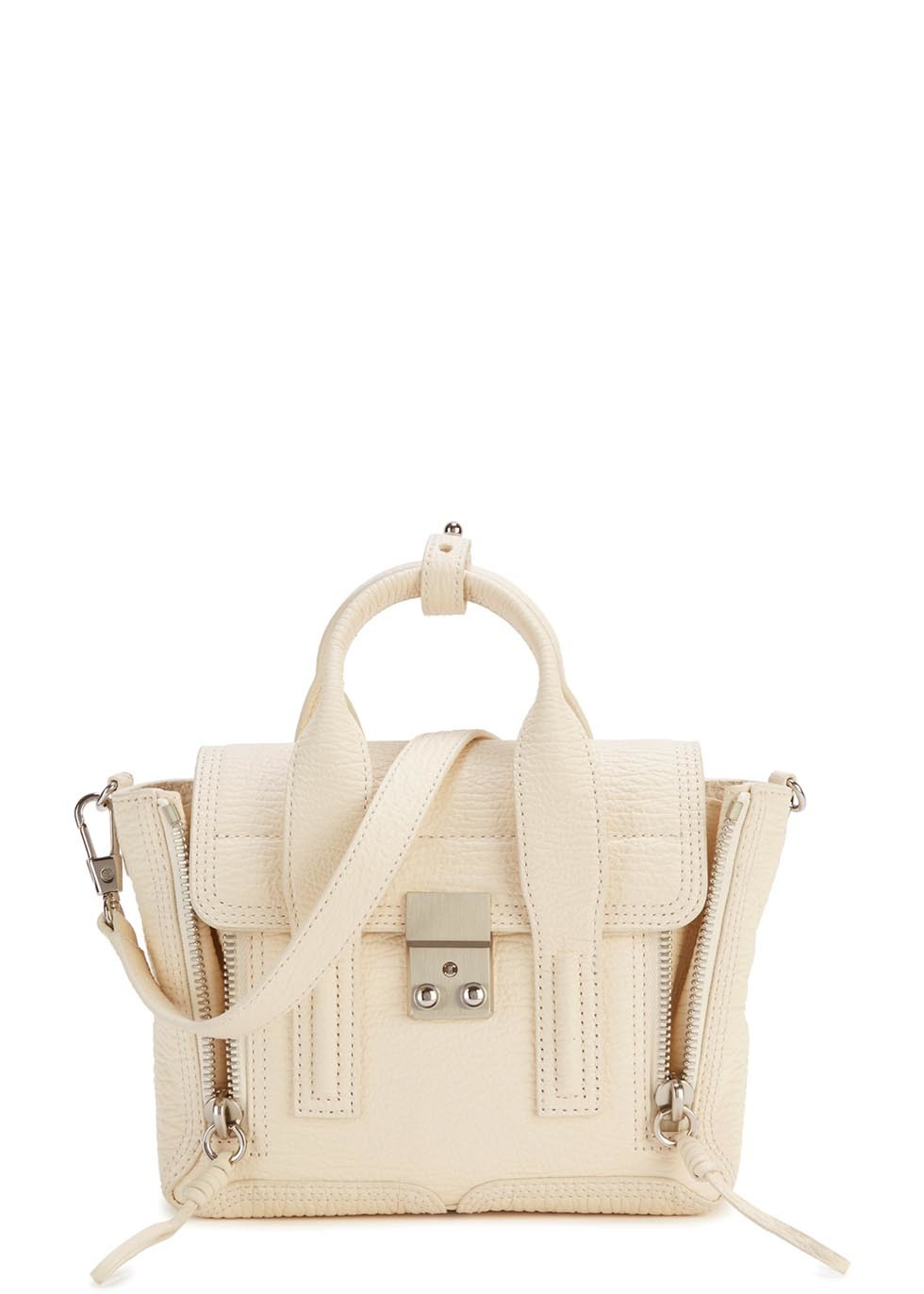 Pashli Mini Off White Leather Satchel - predominant colour: ivory/cream; occasions: casual, creative work; type of pattern: standard; style: tote; length: handle; size: standard; material: leather; pattern: plain; finish: plain; season: a/w 2015