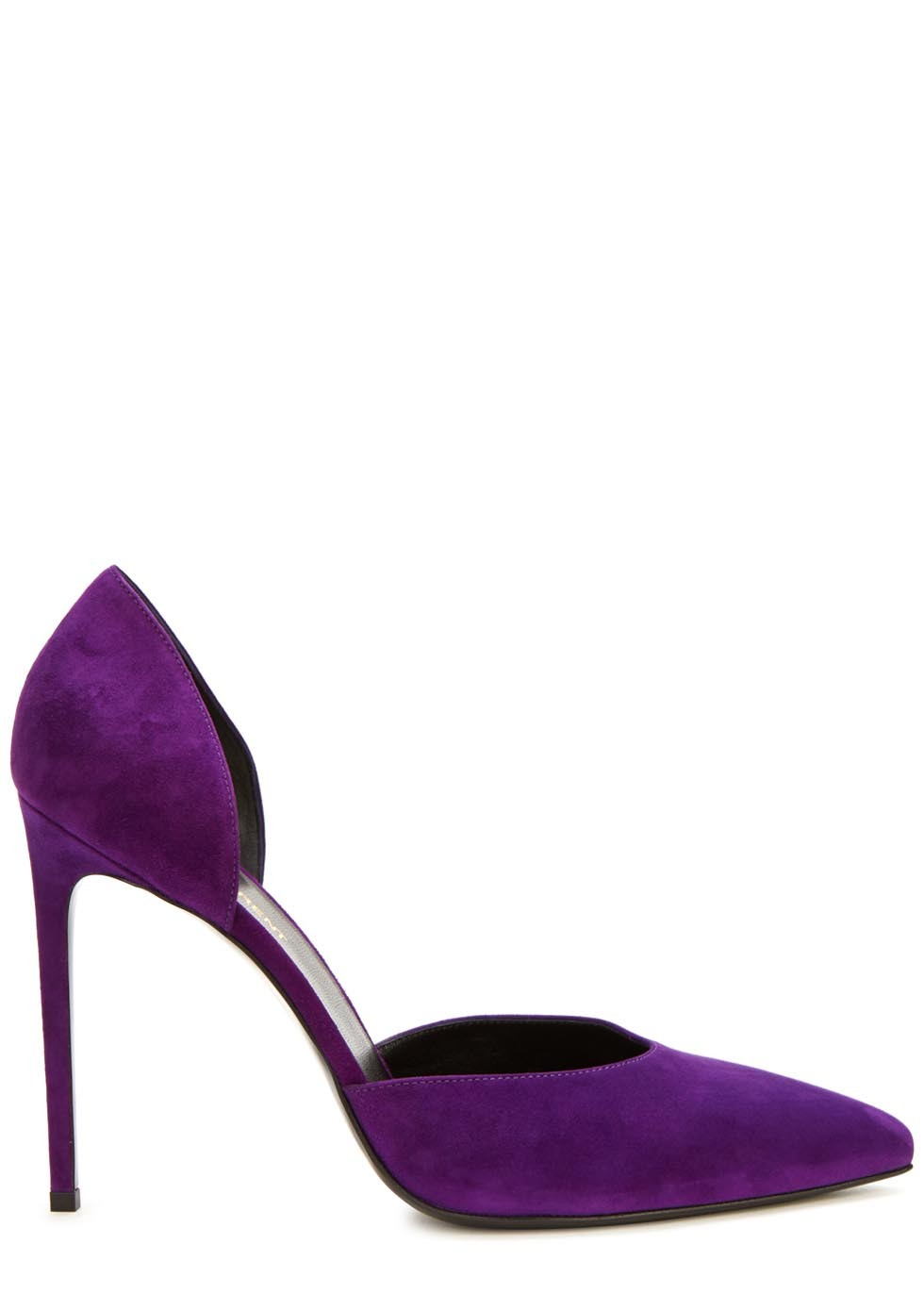 Purple Suede Pumps - predominant colour: purple; occasions: evening, occasion; material: suede; heel height: high; heel: stiletto; toe: pointed toe; style: courts; finish: plain; pattern: plain; season: a/w 2015; wardrobe: event
