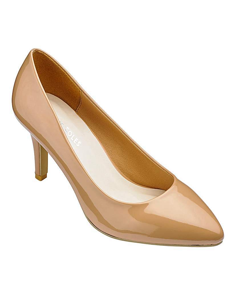 Heavenly Soles Court Shoes Eee Fit - predominant colour: camel; occasions: evening, work, occasion; material: faux leather; heel height: mid; heel: stiletto; toe: pointed toe; style: courts; finish: patent; pattern: plain; season: a/w 2015; wardrobe: investment