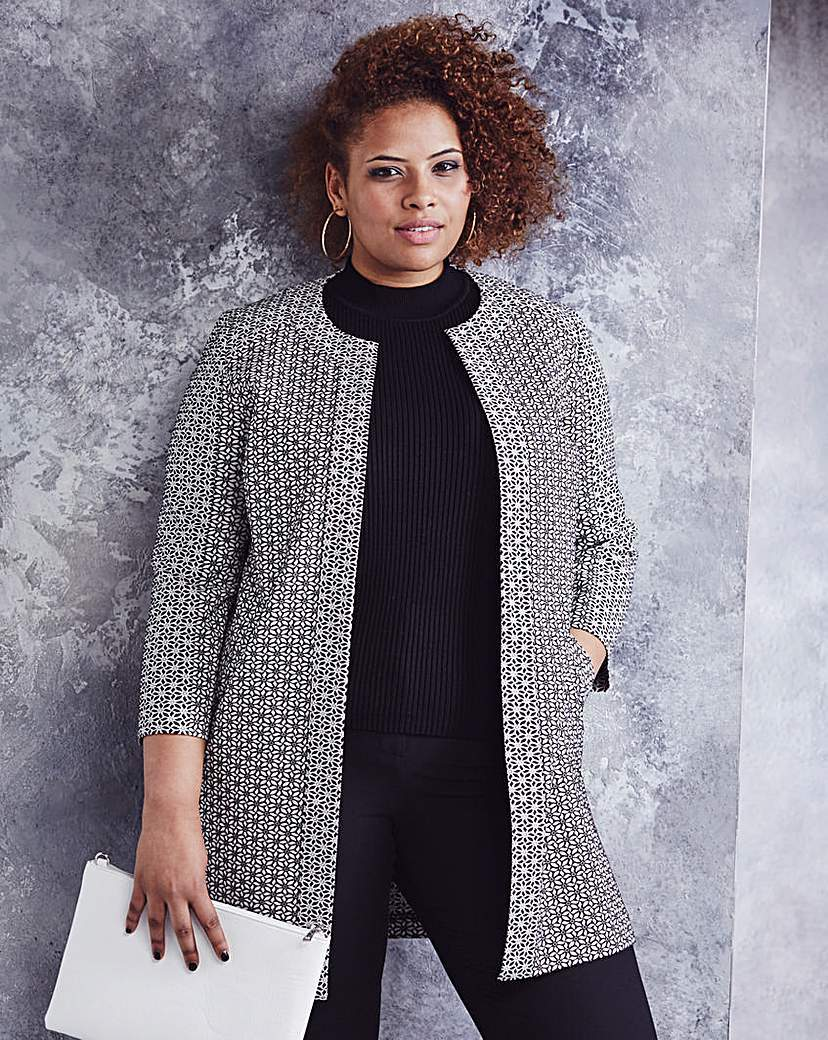 Floral Jacquard Edge To Edge Jacket - collar: round collar/collarless; length: below the bottom; style: boxy; secondary colour: white; predominant colour: black; occasions: casual, creative work; fit: straight cut (boxy); fibres: polyester/polyamide - mix; sleeve length: 3/4 length; sleeve style: standard; trends: monochrome; collar break: low/open; pattern type: fabric; pattern size: standard; pattern: patterned/print; texture group: brocade/jacquard; season: a/w 2015; wardrobe: highlight