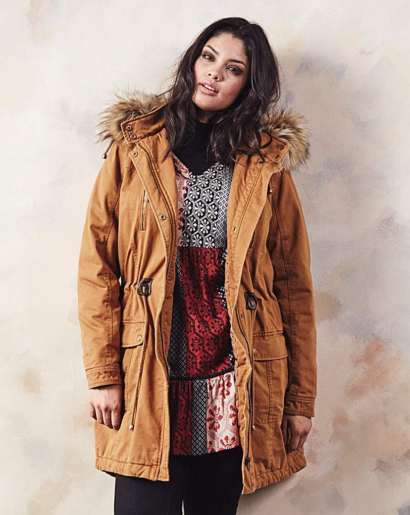 Plain Cotton Parka - pattern: plain; length: below the bottom; collar: funnel; style: parka; back detail: hood; predominant colour: tan; occasions: casual; fit: straight cut (boxy); fibres: cotton - mix; waist detail: belted waist/tie at waist/drawstring; sleeve length: long sleeve; sleeve style: standard; texture group: cotton feel fabrics; collar break: high; pattern type: fabric; embellishment: fur; season: a/w 2015; wardrobe: highlight