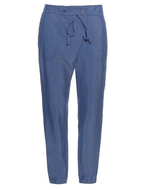 Draped Front Chambray Trousers - length: standard; pattern: plain; style: peg leg; waist: high rise; waist detail: belted waist/tie at waist/drawstring; predominant colour: denim; occasions: casual, creative work; fibres: cotton - stretch; texture group: cotton feel fabrics; fit: tapered; pattern type: fabric; season: a/w 2015