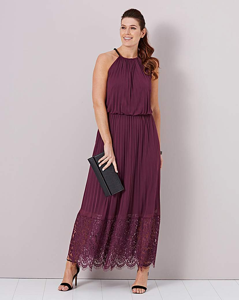 Lace Hem Pleated Maxi Dress - sleeve style: sleeveless; style: maxi dress; length: ankle length; waist detail: elasticated waist; neckline: low halter neck; predominant colour: purple; occasions: casual, evening; fit: body skimming; fibres: cotton - mix; sleeve length: sleeveless; texture group: lace; pattern type: fabric; pattern: patterned/print; embellishment: lace; season: a/w 2015; wardrobe: highlight
