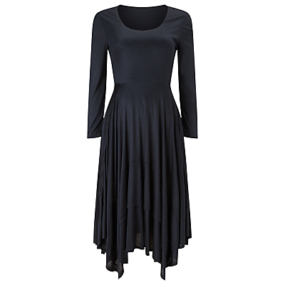 Adelina Tiered Dress, Ink - length: below the knee; pattern: plain; predominant colour: navy; fit: fitted at waist & bust; style: asymmetric (hem); neckline: scoop; fibres: polyester/polyamide - 100%; sleeve length: long sleeve; sleeve style: standard; pattern type: fabric; texture group: jersey - stretchy/drapey; occasions: creative work; season: s/s 2016; wardrobe: investment