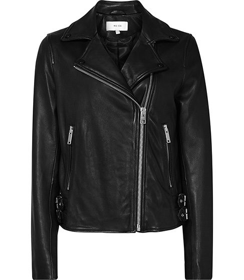 Caden Leather Biker Jacket - pattern: plain; style: biker; collar: asymmetric biker; fit: slim fit; secondary colour: silver; predominant colour: black; occasions: casual; length: standard; fibres: leather - 100%; sleeve length: long sleeve; sleeve style: standard; texture group: leather; collar break: medium; pattern type: fabric; season: a/w 2015; wardrobe: highlight