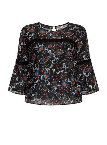 Womens **Girls On Film Dark Floral Top Black - neckline: round neck; sleeve style: balloon; predominant colour: black; occasions: casual, creative work; length: standard; style: top; fibres: polyester/polyamide - 100%; fit: body skimming; back detail: keyhole/peephole detail at back; sleeve length: 3/4 length; pattern type: fabric; pattern: florals; texture group: other - light to midweight; pattern size: big & busy (top); multicoloured: multicoloured; season: a/w 2015; wardrobe: highlight