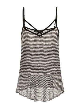 Womens **Girls On Film Stripe Frill Cami Top Multi Colour - sleeve style: spaghetti straps; pattern: horizontal stripes; style: camisole; predominant colour: black; occasions: casual; length: standard; neckline: scoop; fibres: polyester/polyamide - 100%; fit: body skimming; back detail: longer hem at back than at front; sleeve length: sleeveless; texture group: sheer fabrics/chiffon/organza etc.; pattern type: fabric; pattern size: standard; season: a/w 2015; wardrobe: basic