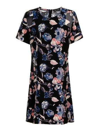 Womens **Girls On Film Dark Floral Dress Multi Colour - style: shift; secondary colour: pink; predominant colour: black; occasions: casual; length: just above the knee; fit: soft a-line; fibres: polyester/polyamide - 100%; neckline: crew; sleeve length: short sleeve; sleeve style: standard; pattern type: fabric; pattern size: big & busy; pattern: florals; texture group: jersey - stretchy/drapey; multicoloured: multicoloured; season: a/w 2015; wardrobe: highlight