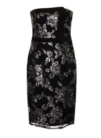 Womens **Little Mistress Black Floral Bandeau Dress Black - style: shift; neckline: strapless (straight/sweetheart); fit: tailored/fitted; sleeve style: sleeveless; predominant colour: black; occasions: evening, occasion; length: on the knee; fibres: polyester/polyamide - 100%; sleeve length: sleeveless; pattern type: fabric; pattern size: big & busy; pattern: patterned/print; texture group: brocade/jacquard; embellishment: lace; season: a/w 2015; wardrobe: event
