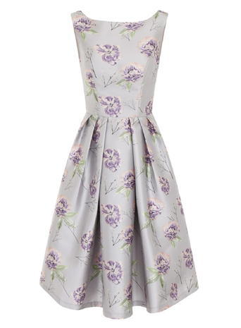Womens **Chi Chi London Floral Print Midi Dress Multi Colour - neckline: round neck; sleeve style: standard vest straps/shoulder straps; predominant colour: lilac; secondary colour: silver; occasions: evening, occasion; length: just above the knee; fit: fitted at waist & bust; style: fit & flare; fibres: polyester/polyamide - 100%; hip detail: subtle/flattering hip detail; sleeve length: sleeveless; pattern type: fabric; pattern: florals; texture group: woven light midweight; multicoloured: multicoloured; season: a/w 2015; wardrobe: event