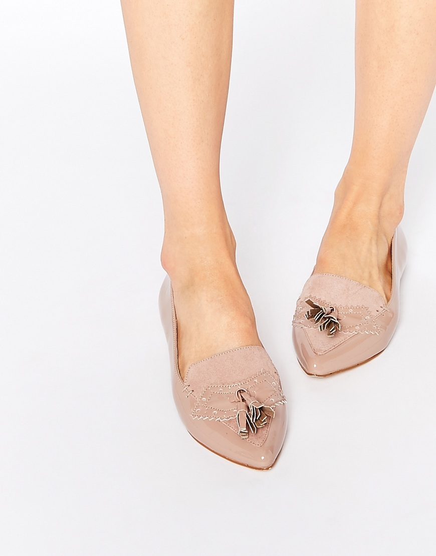 Aaliyah Nude Tassel Pointed Toe Flat Shoes Nude - predominant colour: nude; occasions: casual, work, creative work; heel height: flat; embellishment: tassels; toe: pointed toe; style: ballerinas / pumps; finish: plain; pattern: plain; material: faux suede; season: a/w 2015; wardrobe: basic