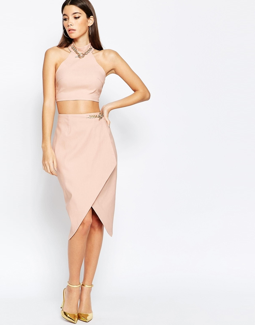 London Asymmetric Midi Skirt With Chain Detail Nude/Gold - length: below the knee; pattern: plain; style: wrap/faux wrap; fit: loose/voluminous; waist: high rise; predominant colour: blush; occasions: evening; fibres: cotton - stretch; pattern type: fabric; texture group: woven light midweight; embellishment: chain/metal; season: a/w 2015; wardrobe: event; embellishment location: hip