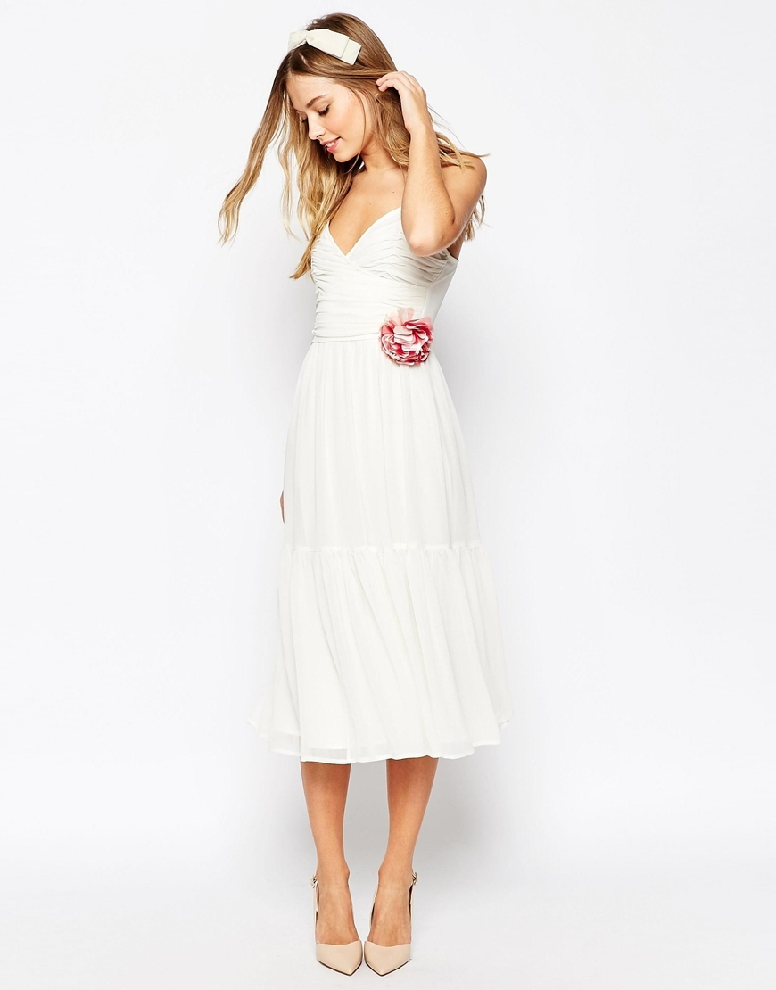 Wedding Corsage Cami Tiered Midi Dress White - length: calf length; neckline: low v-neck; sleeve style: spaghetti straps; pattern: plain; predominant colour: white; occasions: evening; fit: fitted at waist & bust; style: fit & flare; fibres: polyester/polyamide - 100%; sleeve length: sleeveless; pattern type: fabric; texture group: jersey - stretchy/drapey; season: a/w 2015; wardrobe: event