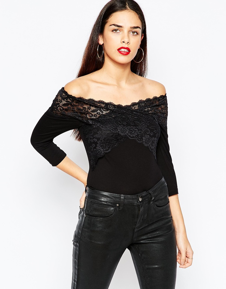 Body With Lace Wrap Front And Off Shoulder Black - neckline: off the shoulder; pattern: plain; predominant colour: black; occasions: evening; length: standard; fibres: viscose/rayon - stretch; fit: tight; sleeve length: 3/4 length; sleeve style: standard; texture group: lace; pattern type: fabric; style: bodysuit; season: a/w 2015; wardrobe: event
