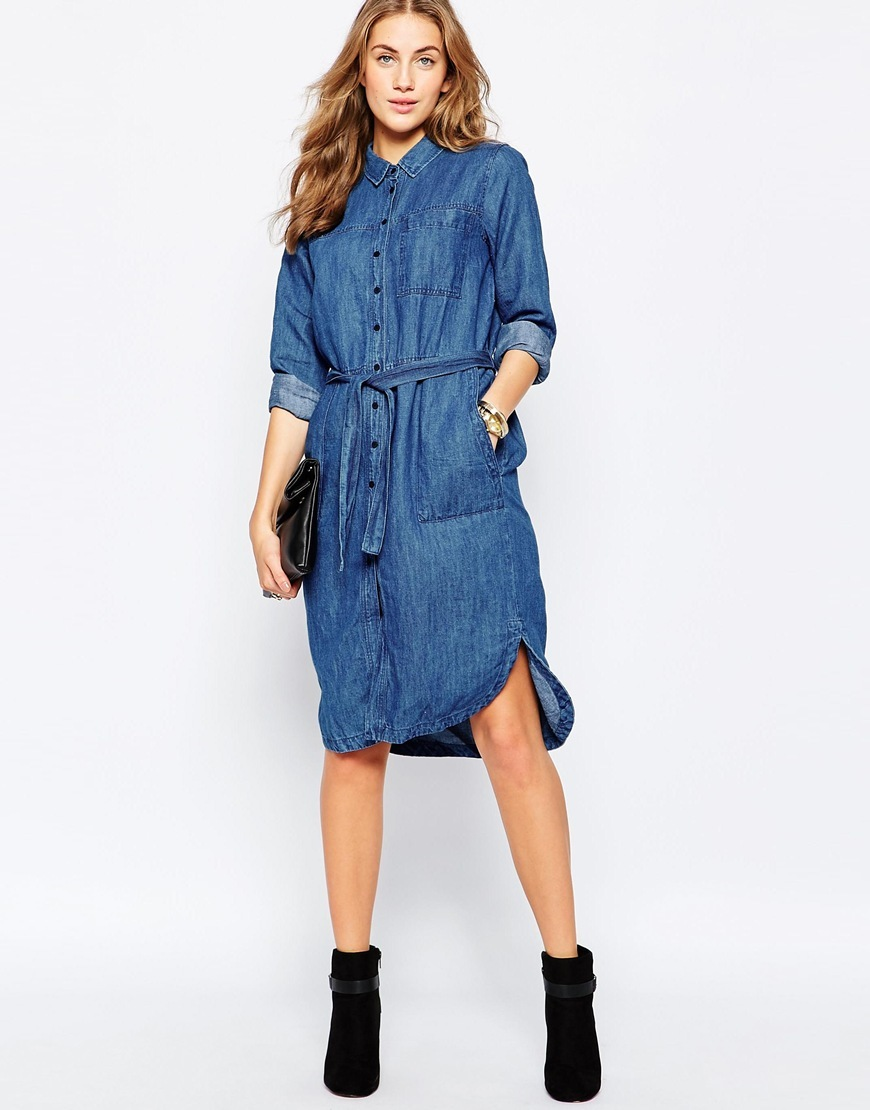 Denim Dress Blue - style: shirt; neckline: shirt collar/peter pan/zip with opening; fit: loose; pattern: plain; waist detail: belted waist/tie at waist/drawstring; predominant colour: denim; occasions: casual; length: on the knee; fibres: cotton - mix; sleeve length: 3/4 length; sleeve style: standard; texture group: denim; pattern type: fabric; season: a/w 2015; wardrobe: basic