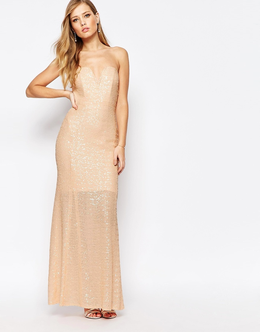 Showstopper Sequin Maxi Dress Nude - neckline: strapless (straight/sweetheart); pattern: plain; style: maxi dress; sleeve style: strapless; predominant colour: nude; occasions: evening; length: floor length; fit: body skimming; fibres: polyester/polyamide - 100%; sleeve length: sleeveless; pattern type: fabric; texture group: jersey - stretchy/drapey; embellishment: sequins; season: a/w 2015; wardrobe: event