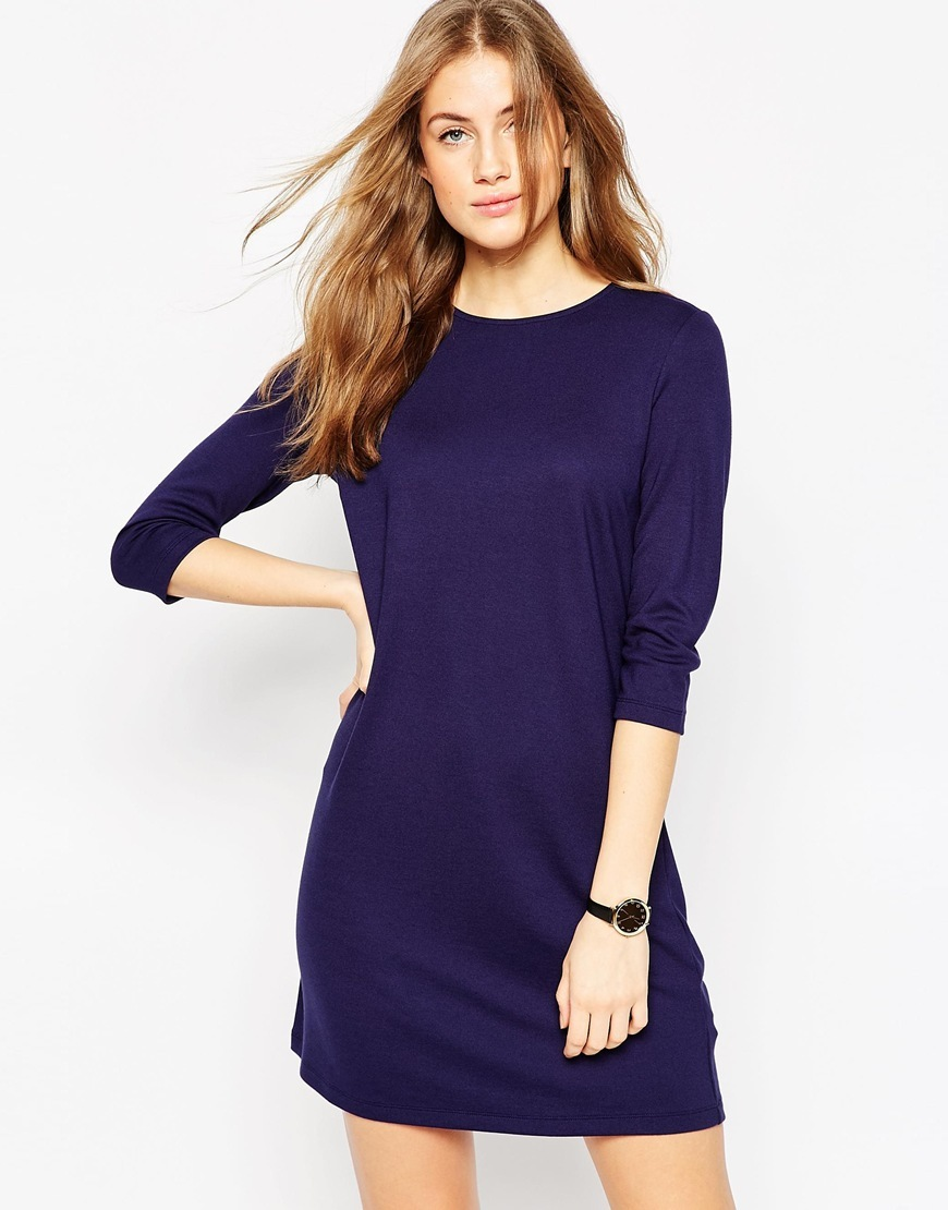Shift Dress In Ponte With 3/4 Sleeves Navy - style: shift; length: mid thigh; pattern: plain; predominant colour: navy; occasions: casual; fit: body skimming; fibres: viscose/rayon - stretch; neckline: crew; sleeve length: 3/4 length; sleeve style: standard; pattern type: fabric; texture group: jersey - stretchy/drapey; season: a/w 2015; wardrobe: basic