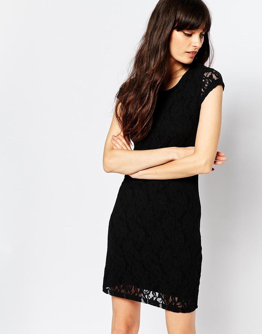 Lace Bodycon Dress Black - style: shift; length: mid thigh; neckline: round neck; pattern: plain; sleeve style: sleeveless; predominant colour: black; occasions: evening; fit: body skimming; fibres: polyester/polyamide - mix; sleeve length: sleeveless; texture group: lace; pattern type: fabric; embellishment: lace; season: a/w 2015; wardrobe: event