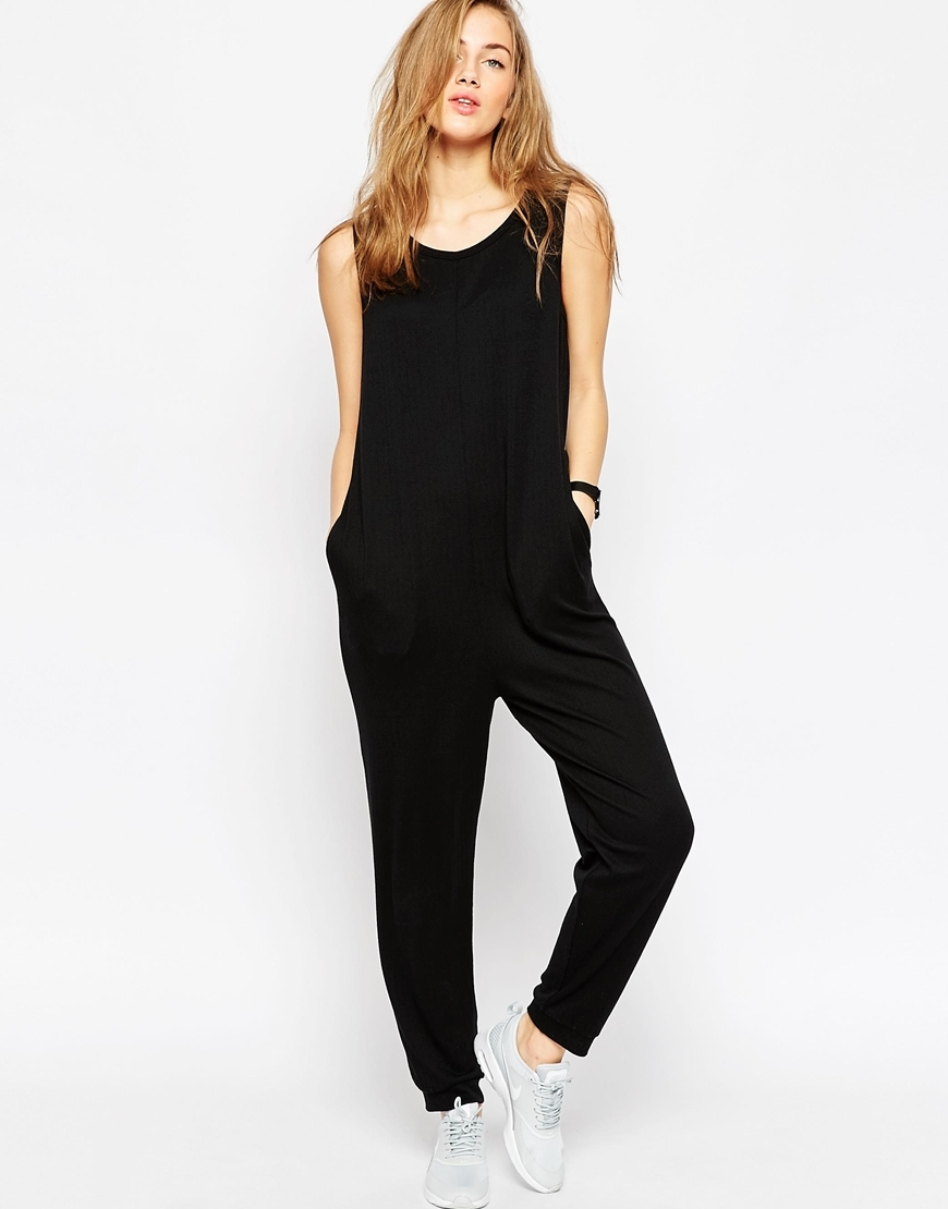 Minimal Jumpsuit In Jersey Rib Black - length: standard; neckline: round neck; pattern: plain; sleeve style: sleeveless; predominant colour: black; occasions: casual; fit: body skimming; fibres: polyester/polyamide - stretch; sleeve length: sleeveless; style: jumpsuit; pattern type: fabric; texture group: jersey - stretchy/drapey; season: a/w 2015; wardrobe: highlight