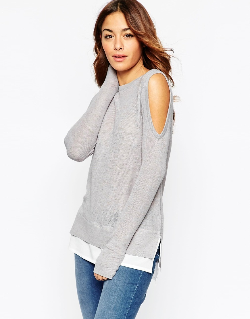 Jumper With Cold Shoulder And Woven Detail Grey - pattern: plain; style: standard; predominant colour: light grey; occasions: casual, creative work; length: standard; fibres: acrylic - mix; fit: loose; neckline: crew; shoulder detail: cut out shoulder; sleeve length: long sleeve; sleeve style: standard; texture group: knits/crochet; pattern type: knitted - fine stitch; season: a/w 2015; wardrobe: highlight