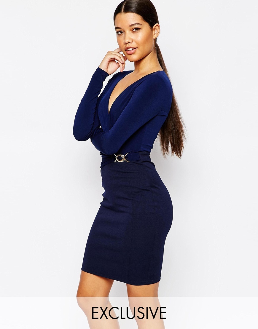 Plunge Pencil Dress With Cinched Waist Detail Navy - neckline: low v-neck; fit: tight; pattern: plain; style: bodycon; waist detail: belted waist/tie at waist/drawstring; predominant colour: navy; occasions: evening; length: just above the knee; fibres: polyester/polyamide - stretch; sleeve length: long sleeve; sleeve style: standard; texture group: jersey - clingy; pattern type: fabric; season: a/w 2015; wardrobe: event