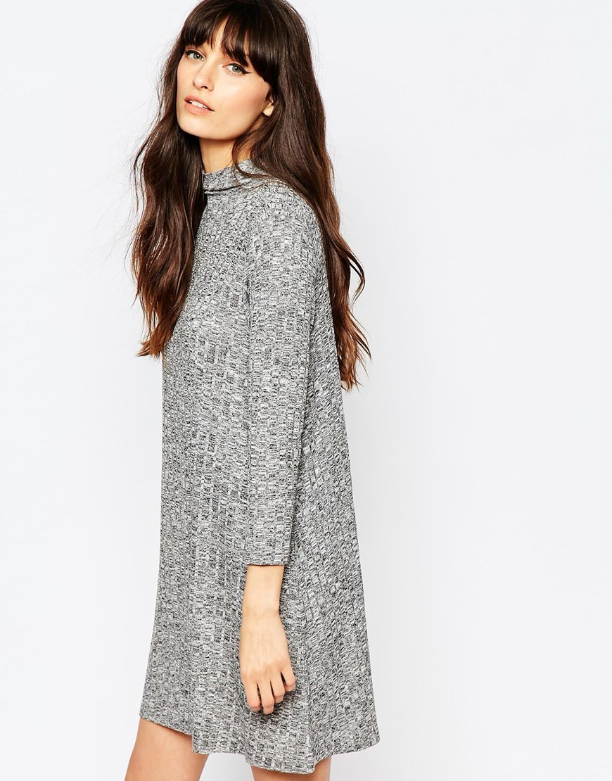 High Neck Ribbed Swing Dress Light Grey - style: tunic; length: mid thigh; pattern: plain; neckline: roll neck; predominant colour: mid grey; occasions: casual; fit: soft a-line; fibres: polyester/polyamide - stretch; sleeve length: long sleeve; sleeve style: standard; texture group: knits/crochet; pattern type: knitted - fine stitch; season: a/w 2015; wardrobe: basic