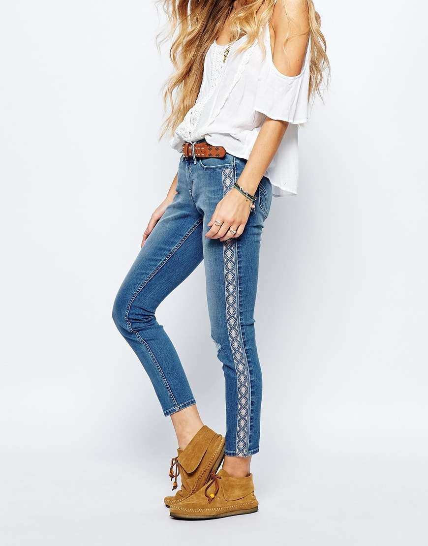 Ankle Grazer Jeans With Side Seam Embroidery Medium Blue - style: skinny leg; pattern: plain; waist: high rise; predominant colour: denim; occasions: casual, creative work; length: ankle length; fibres: cotton - mix; texture group: denim; pattern type: fabric; season: a/w 2015; wardrobe: basic