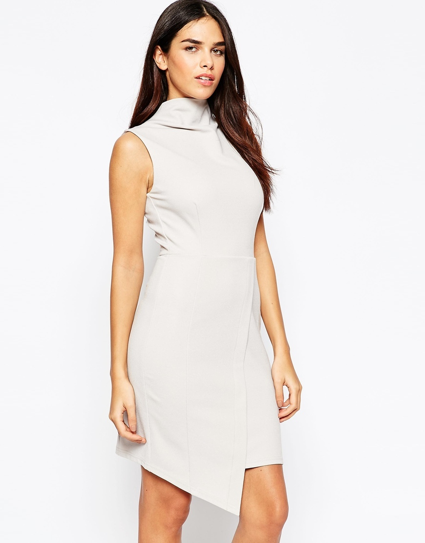 High Neck Mini Pencil Dress Silver - style: shift; pattern: plain; sleeve style: sleeveless; neckline: high neck; predominant colour: silver; occasions: evening, occasion; length: just above the knee; fit: body skimming; sleeve length: sleeveless; pattern type: fabric; texture group: jersey - stretchy/drapey; fibres: viscose/rayon - mix; season: a/w 2015; wardrobe: event