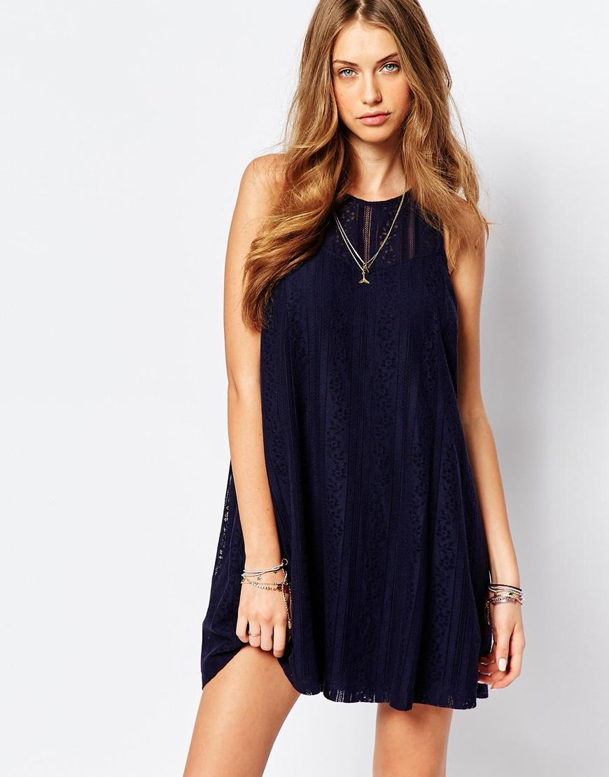 Lace A Line Dress Navy - style: smock; length: mid thigh; fit: loose; pattern: plain; sleeve style: sleeveless; predominant colour: navy; occasions: evening, creative work; fibres: cotton - mix; neckline: crew; sleeve length: sleeveless; texture group: crepes; pattern type: fabric; season: a/w 2015