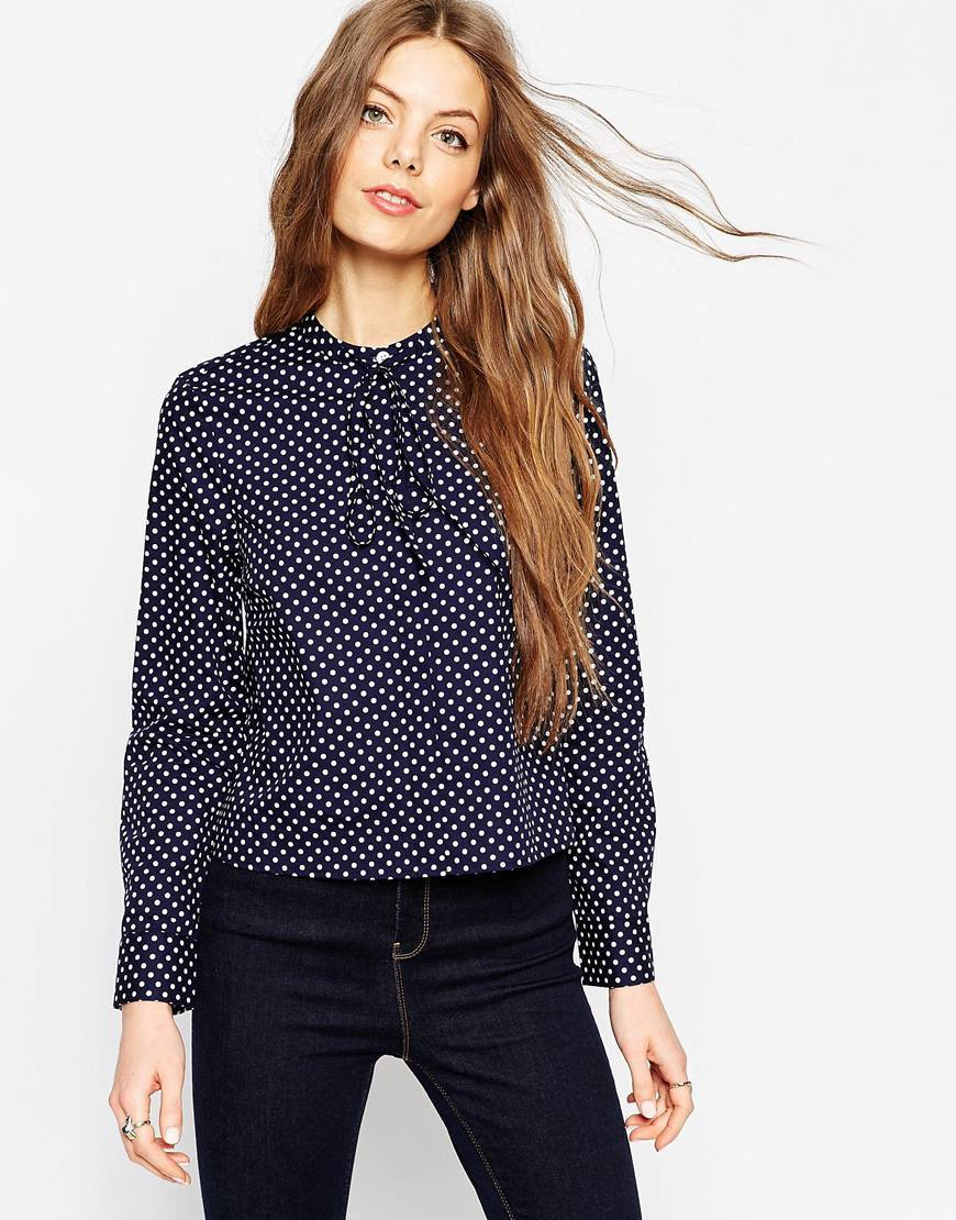 Spot Print Shirt With Tie Front Navy - style: shirt; neckline: pussy bow; pattern: polka dot; predominant colour: navy; occasions: casual, work, creative work; length: standard; fibres: cotton - 100%; fit: body skimming; sleeve length: long sleeve; sleeve style: standard; pattern type: fabric; texture group: jersey - stretchy/drapey; pattern size: big & busy (top); season: a/w 2015; wardrobe: highlight
