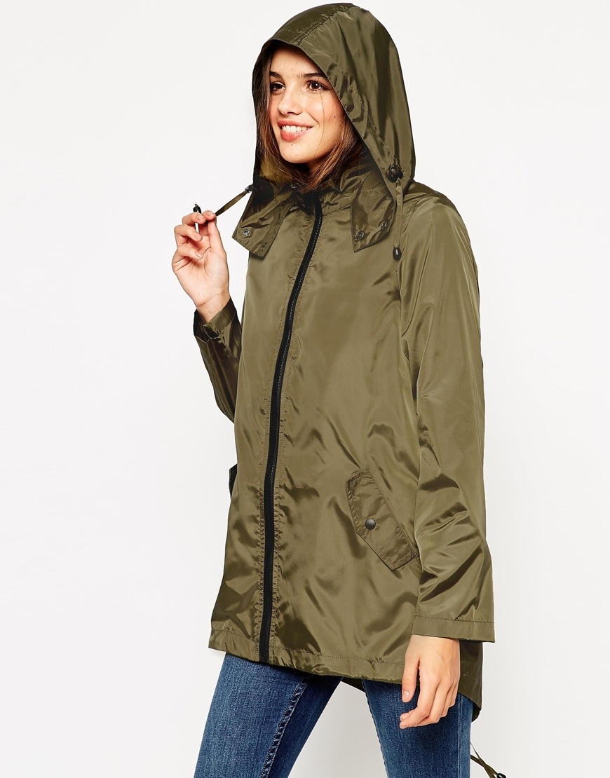 Pac A Mac Khaki - pattern: plain; length: below the bottom; fit: loose; style: parka; back detail: hood; collar: high neck; predominant colour: khaki; occasions: casual; fibres: polyester/polyamide - 100%; sleeve length: long sleeve; sleeve style: standard; texture group: technical outdoor fabrics; collar break: high; pattern type: fabric; season: a/w 2015; wardrobe: basic